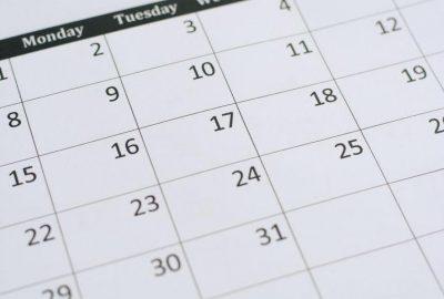 Lukuvuoden 2019-2020 kalenterisivu